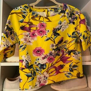 Gracia Yellow Top with bird and floral print